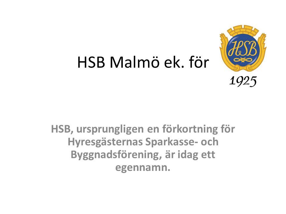 HSB Malmö ek. för HSB, ursprungligen en förkortning för Hyresgästernas Sparkasse- och Byggnadsförening, är idag ett egennamn.