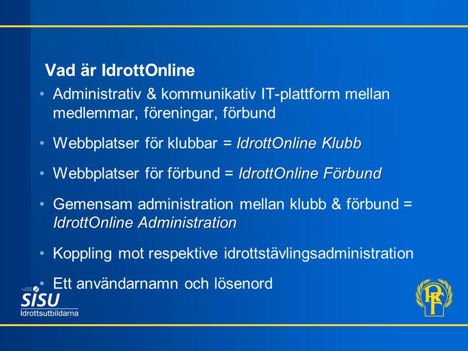 Vad är IdrottOnline Administrativ & kommunikativ IT-plattform mellan medlemmar, föreningar, förbund.