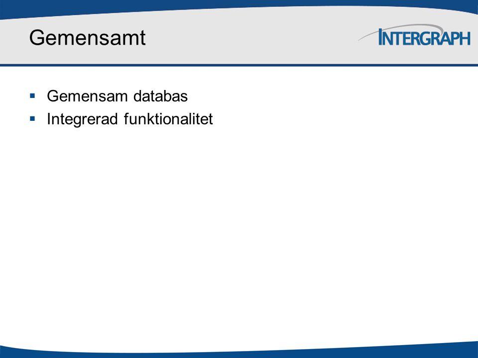 Gemensamt Gemensam databas Integrerad funktionalitet