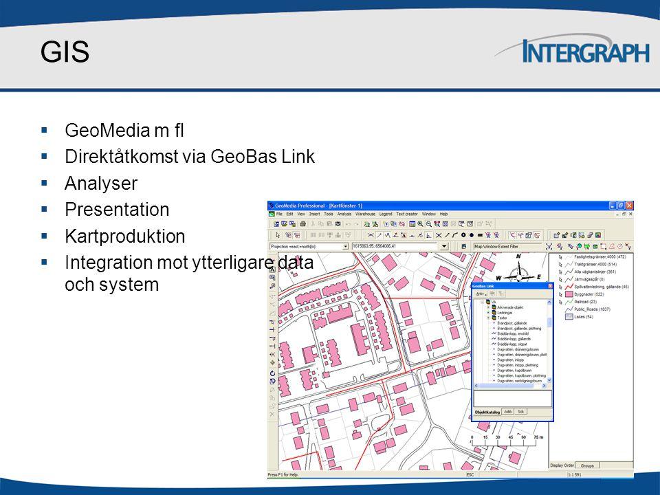 GIS GeoMedia m fl Direktåtkomst via GeoBas Link Analyser Presentation