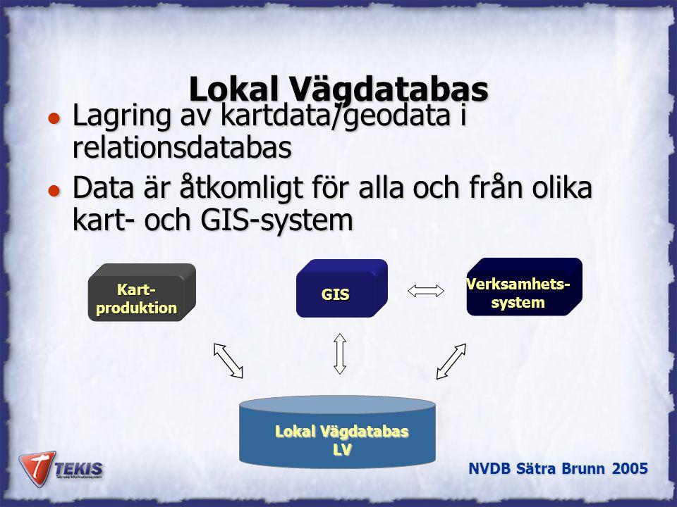 Lokal Vägdatabas Lagring av kartdata/geodata i relationsdatabas