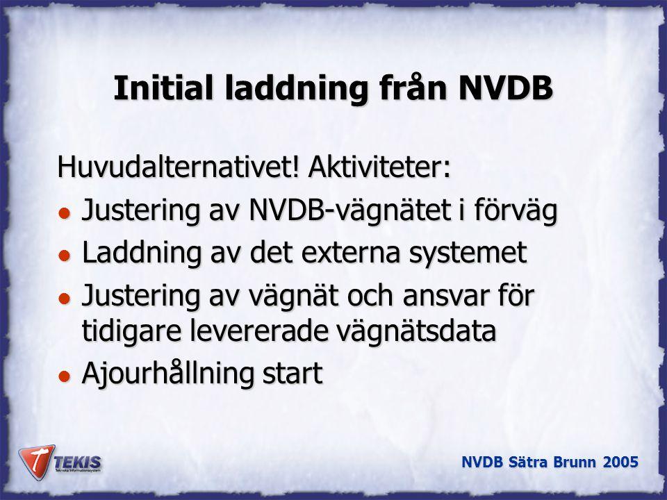 Initial laddning från NVDB