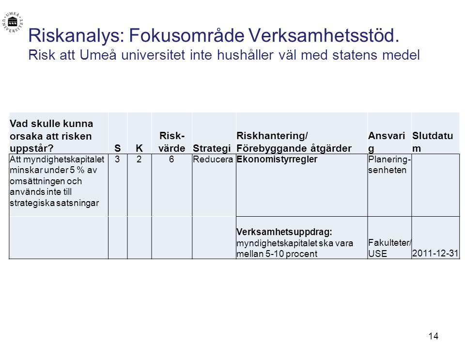 Riskanalys: Fokusområde Verksamhetsstöd