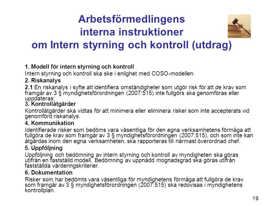 Arbetsförmedlingens interna instruktioner om Intern styrning och kontroll (utdrag)