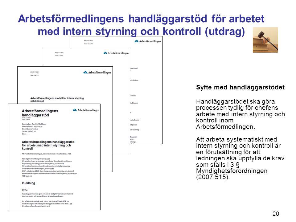 Arbetsförmedlingens handläggarstöd för arbetet med intern styrning och kontroll (utdrag)
