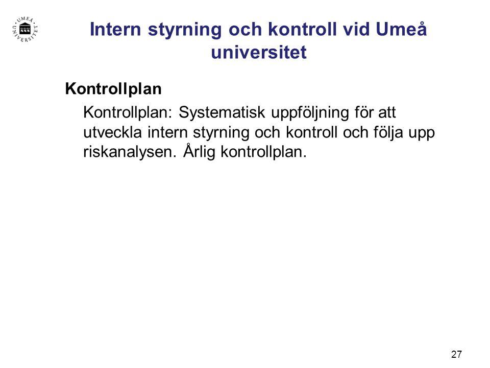 Intern styrning och kontroll vid Umeå universitet
