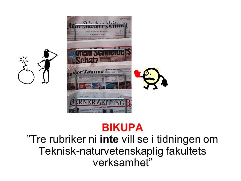 BIKUPA Tre rubriker ni inte vill se i tidningen om Teknisk-naturvetenskaplig fakultets verksamhet