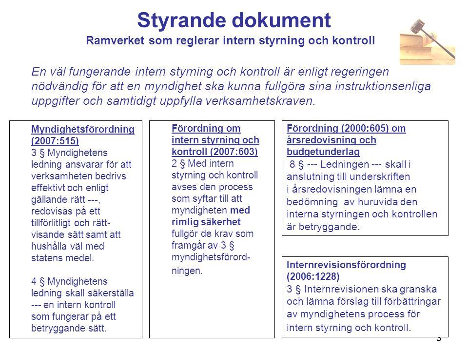 Styrande dokument Ramverket som reglerar intern styrning och kontroll