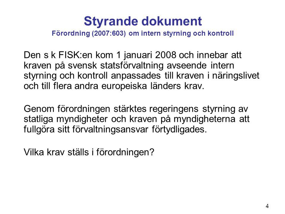 Styrande dokument Förordning (2007:603) om intern styrning och kontroll