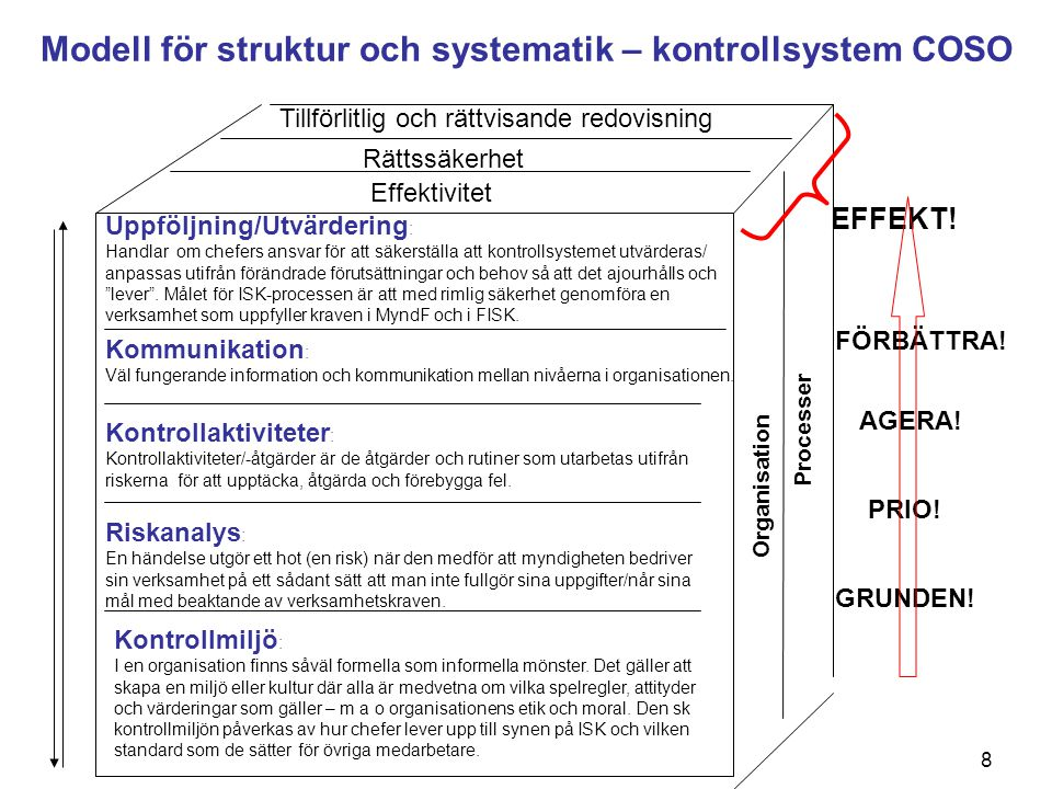 Modell för struktur och systematik – kontrollsystem COSO