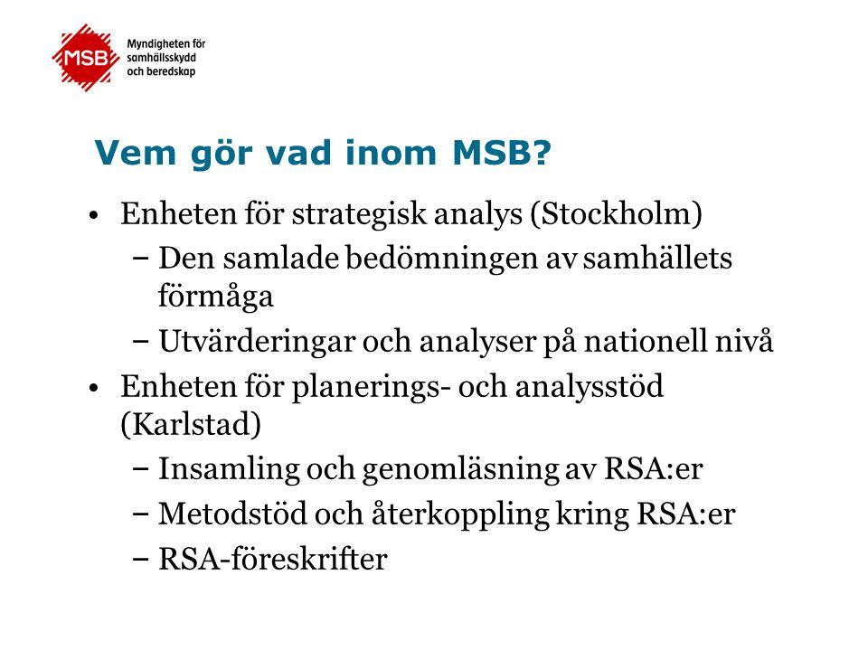 Vem gör vad inom MSB Enheten för strategisk analys (Stockholm)