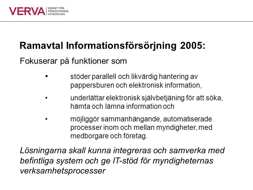 Ramavtal Informationsförsörjning 2005: