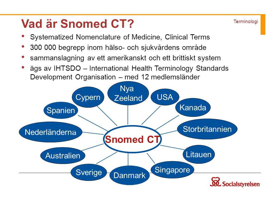 Vad är Snomed CT Snomed CT Nya Zeeland Cypern USA Kanada Spanien