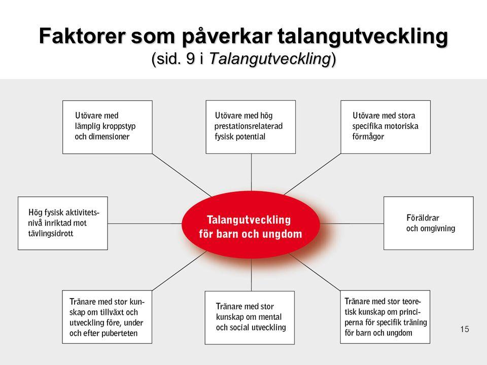Faktorer som påverkar talangutveckling (sid. 9 i Talangutveckling)