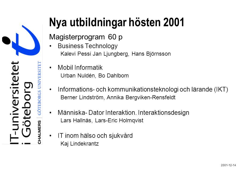 Nya utbildningar hösten 2001