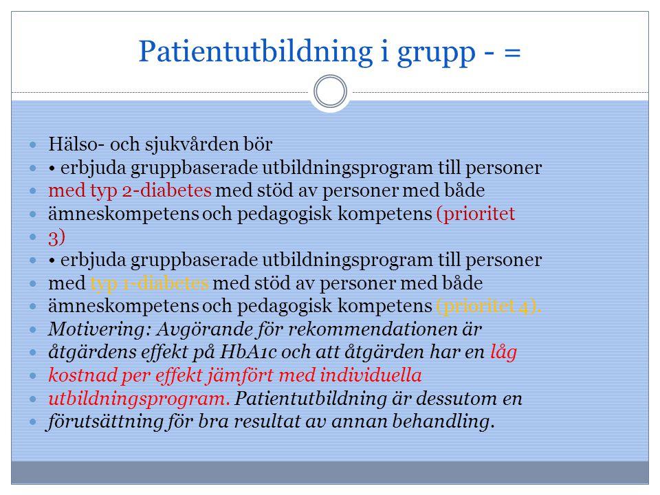 Patientutbildning i grupp - =