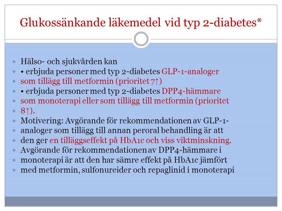 Glukossänkande läkemedel vid typ 2-diabetes*