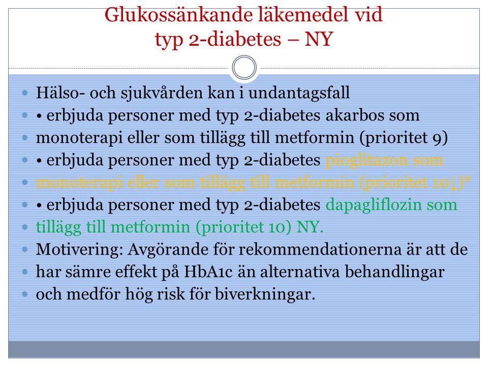 Glukossänkande läkemedel vid typ 2-diabetes – NY