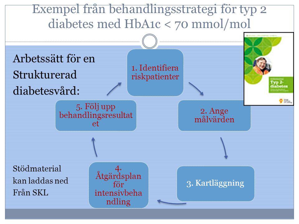 Exempel från behandlingsstrategi för typ 2 diabetes med HbA1c < 70 mmol/mol