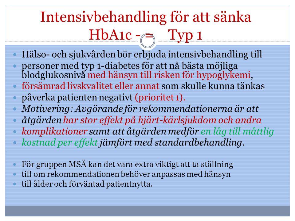 Intensivbehandling för att sänka HbA1c - = Typ 1