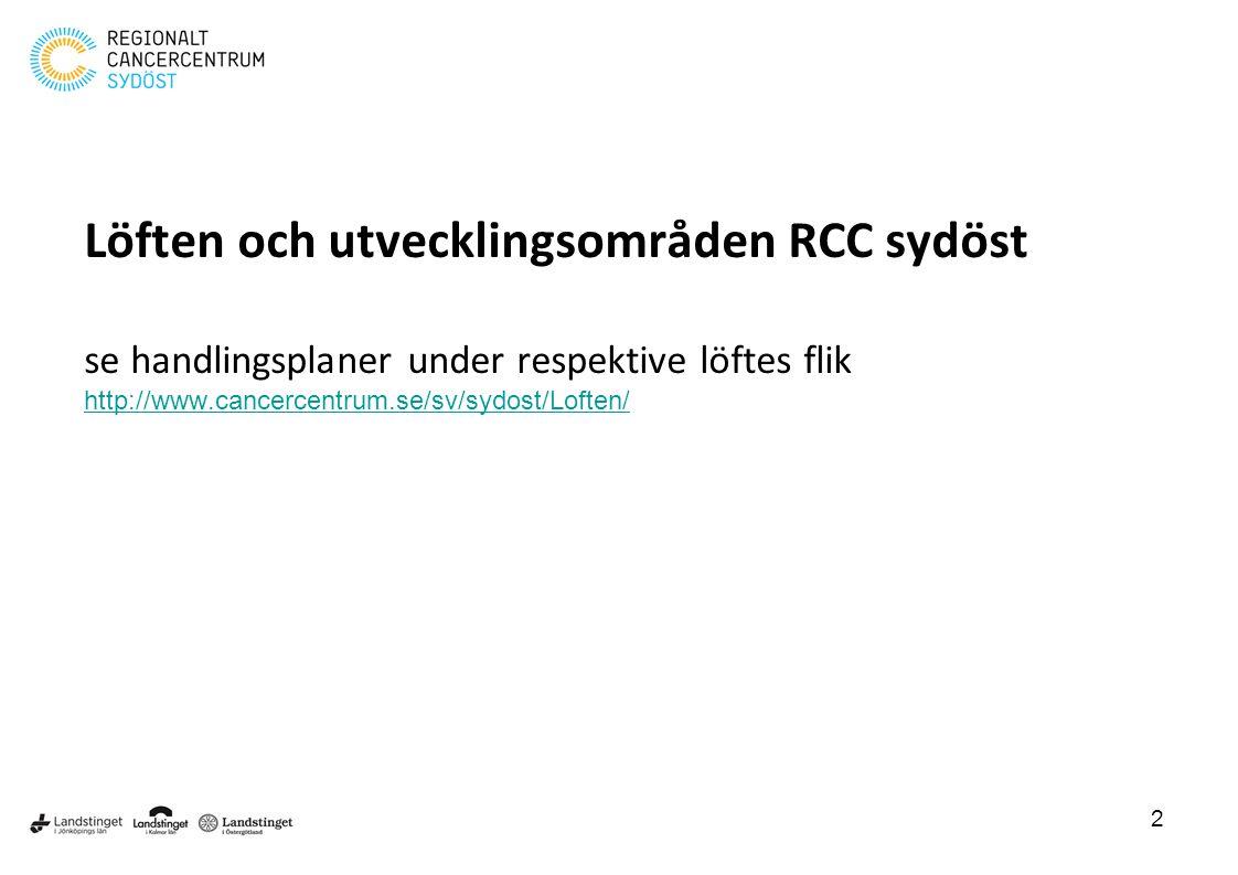 Löften och utvecklingsområden RCC sydöst se handlingsplaner under respektive löftes flik http://www.cancercentrum.se/sv/sydost/Loften/