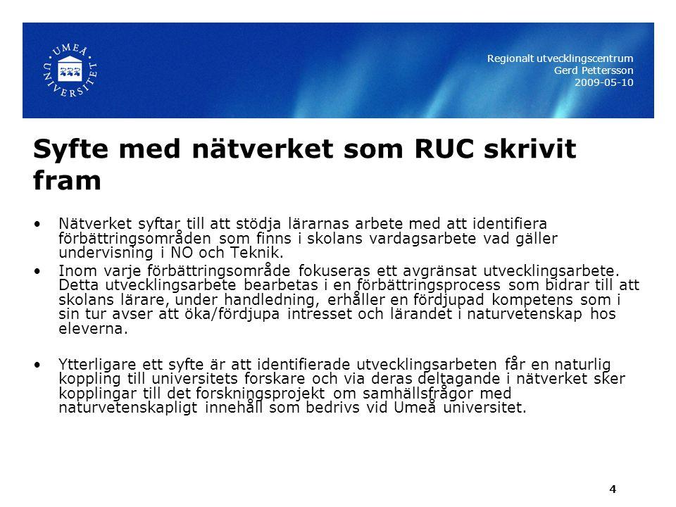 Syfte med nätverket som RUC skrivit fram