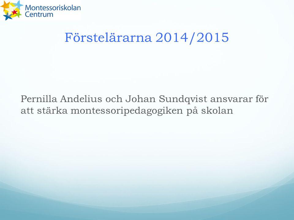 Förstelärarna 2014/2015 Pernilla Andelius och Johan Sundqvist ansvarar för att stärka montessoripedagogiken på skolan.