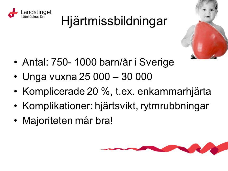 Hjärtmissbildningar Antal: 750- 1000 barn/år i Sverige