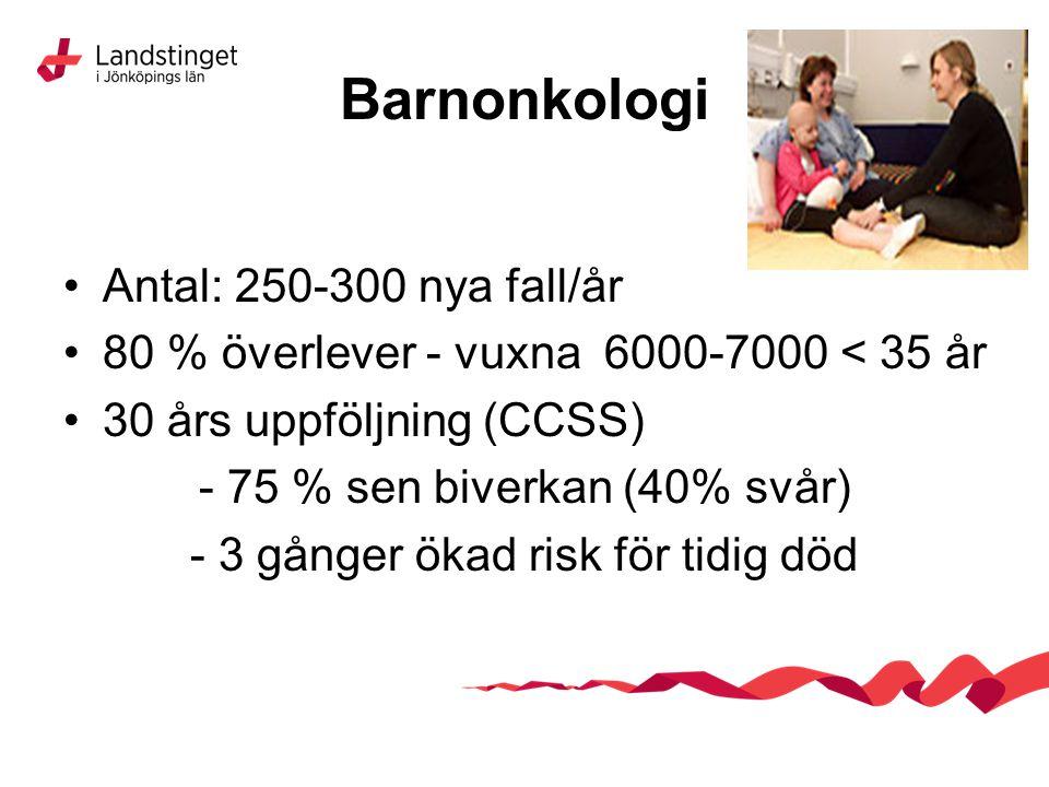 Barnonkologi Antal: 250-300 nya fall/år