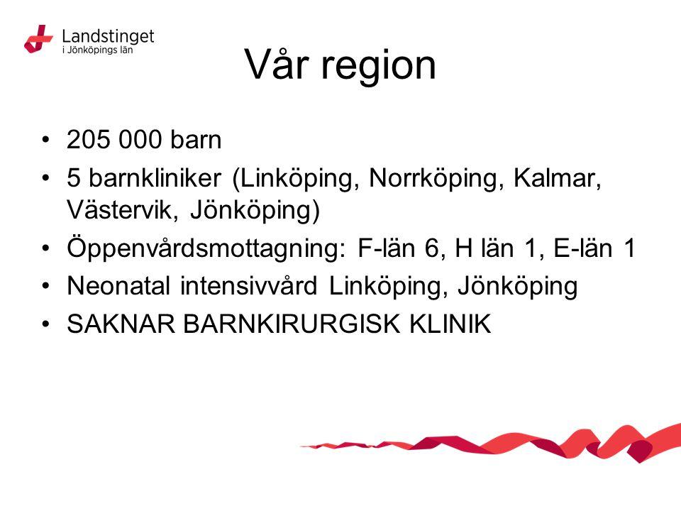 Vår region 205 000 barn. 5 barnkliniker (Linköping, Norrköping, Kalmar, Västervik, Jönköping) Öppenvårdsmottagning: F-län 6, H län 1, E-län 1.