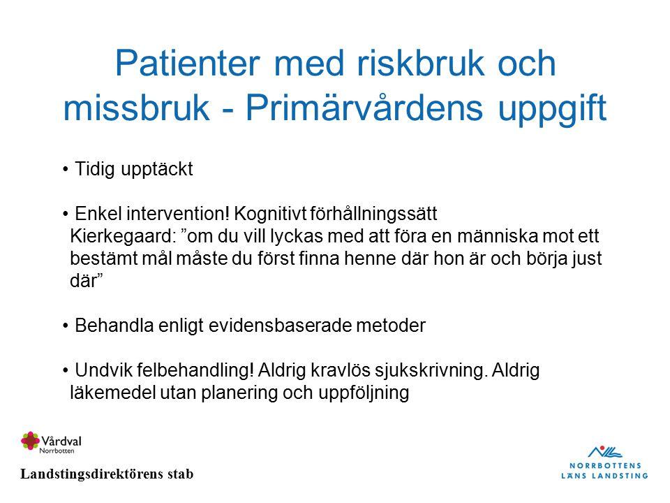 Patienter med riskbruk och missbruk - Primärvårdens uppgift