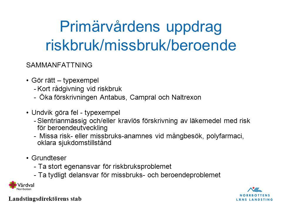 Primärvårdens uppdrag riskbruk/missbruk/beroende