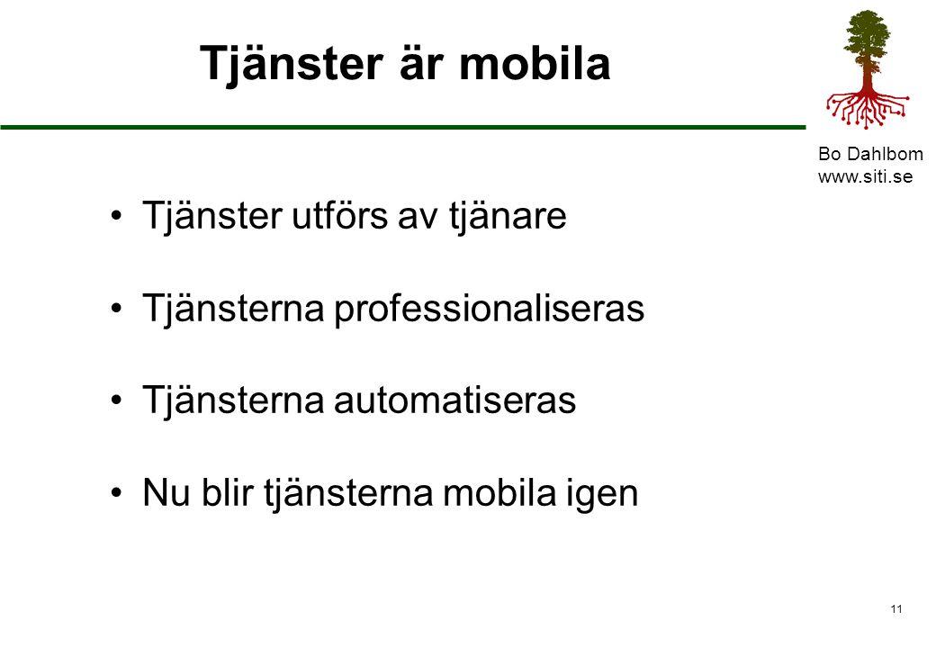 Tjänster är mobila Tjänster utförs av tjänare