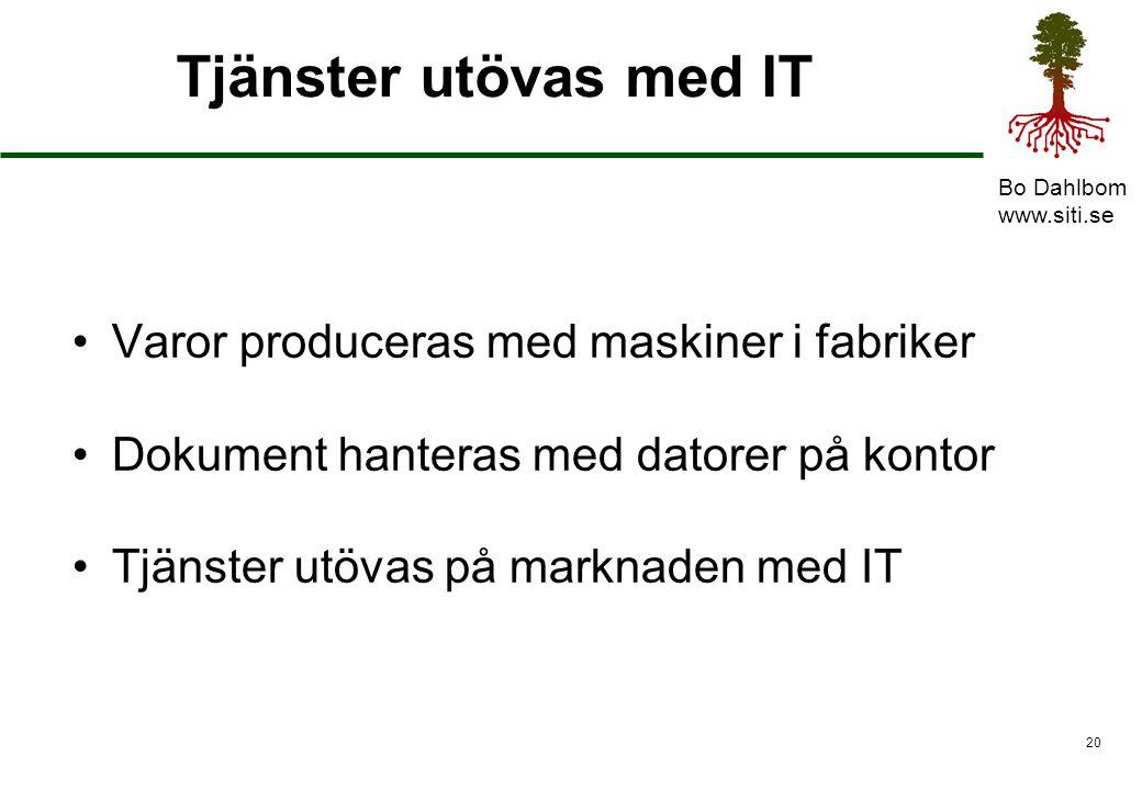 Tjänster utövas med IT Varor produceras med maskiner i fabriker