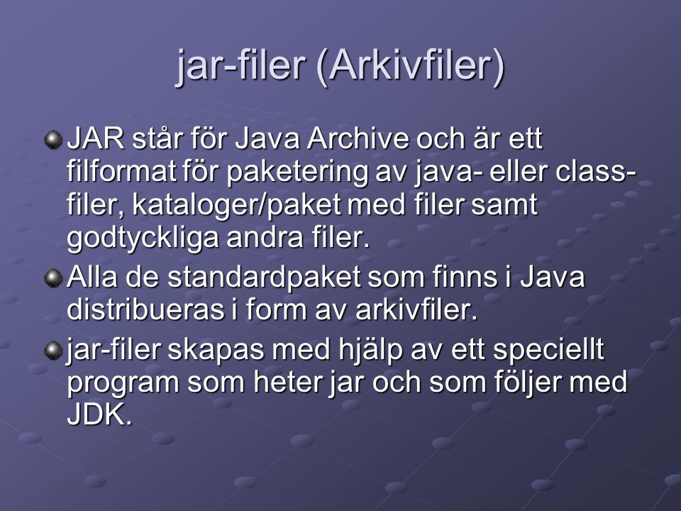 jar-filer (Arkivfiler)