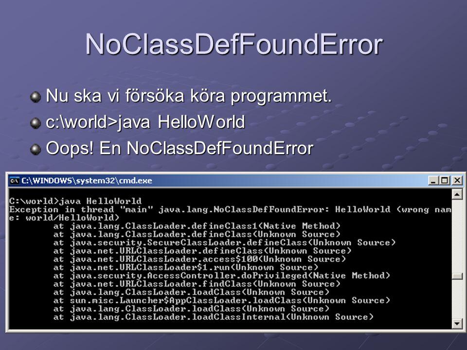 NoClassDefFoundError