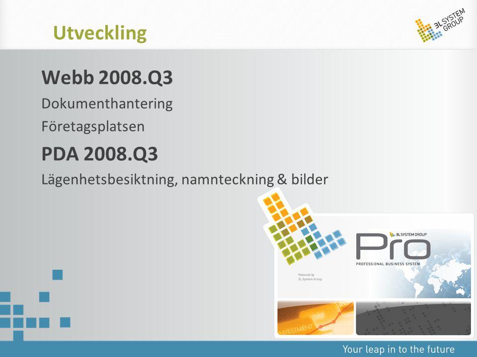 Utveckling Webb 2008.Q3 PDA 2008.Q3 Dokumenthantering Företagsplatsen