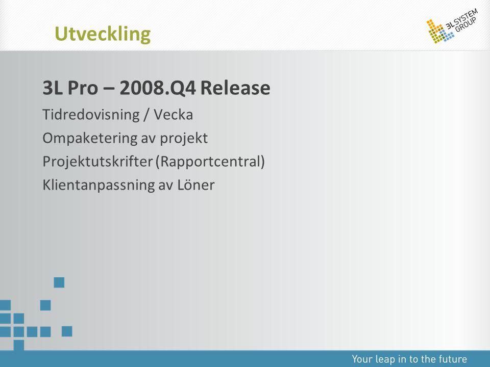 Utveckling 3L Pro – 2008.Q4 Release Tidredovisning / Vecka
