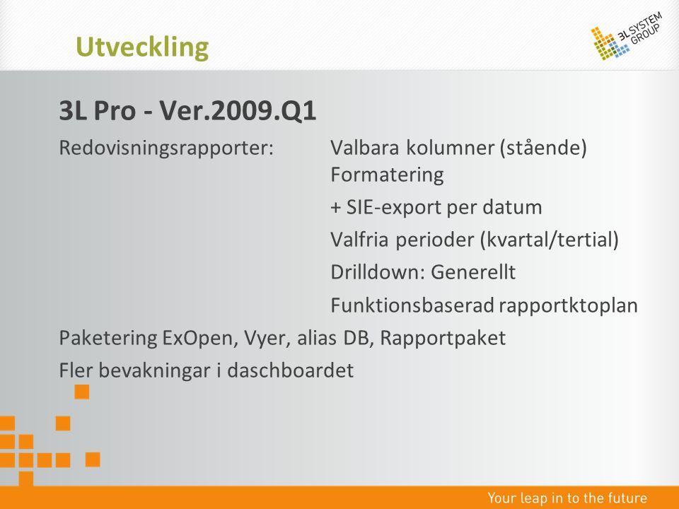 Utveckling 3L Pro - Ver.2009.Q1. Redovisningsrapporter: Valbara kolumner (stående) Formatering.