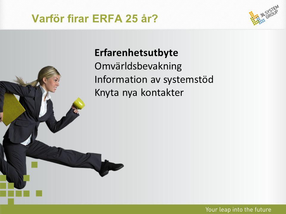 Varför firar ERFA 25 år. Erfarenhetsutbyte. Omvärldsbevakning.