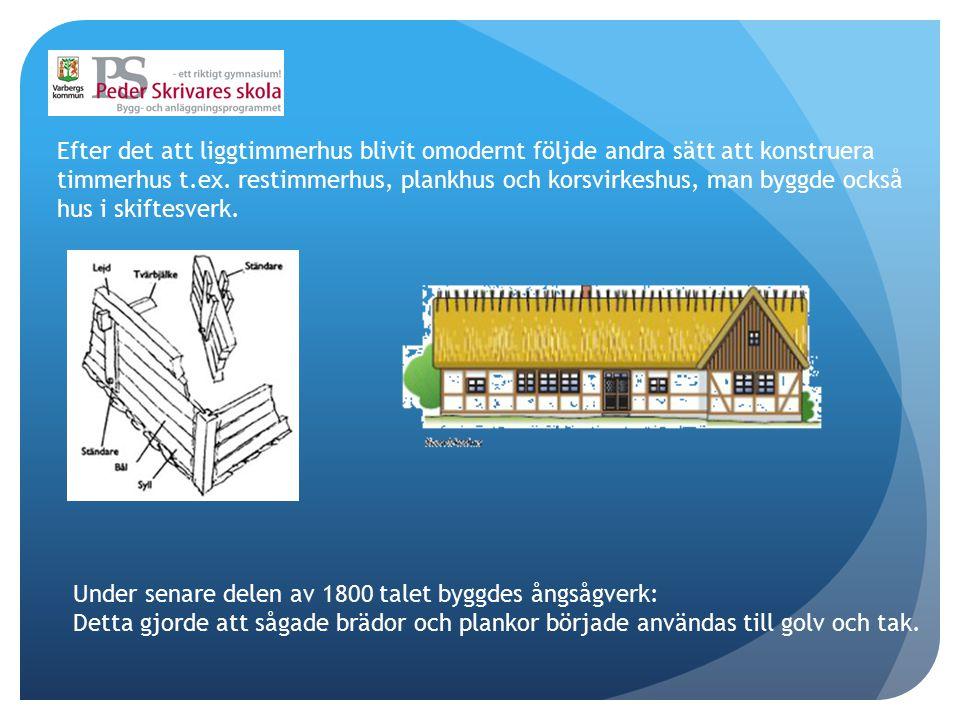 Efter det att liggtimmerhus blivit omodernt följde andra sätt att konstruera timmerhus t.ex. restimmerhus, plankhus och korsvirkeshus, man byggde också hus i skiftesverk.