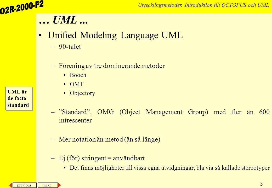 … UML ... Unified Modeling Language UML 90-talet