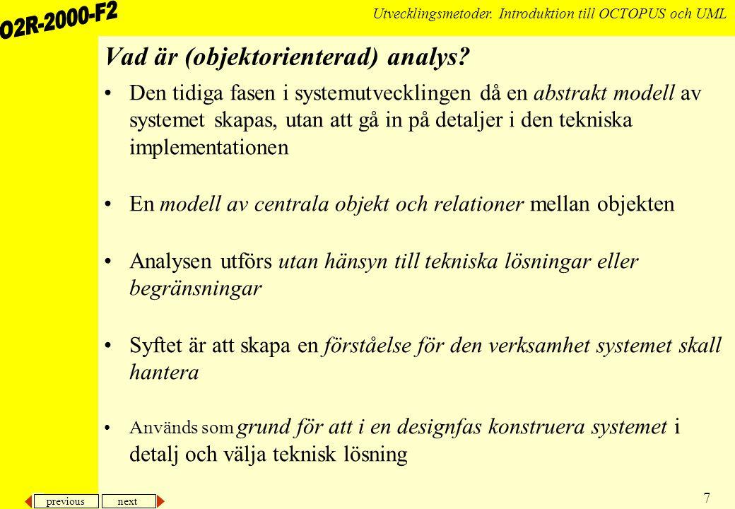 Vad är (objektorienterad) analys