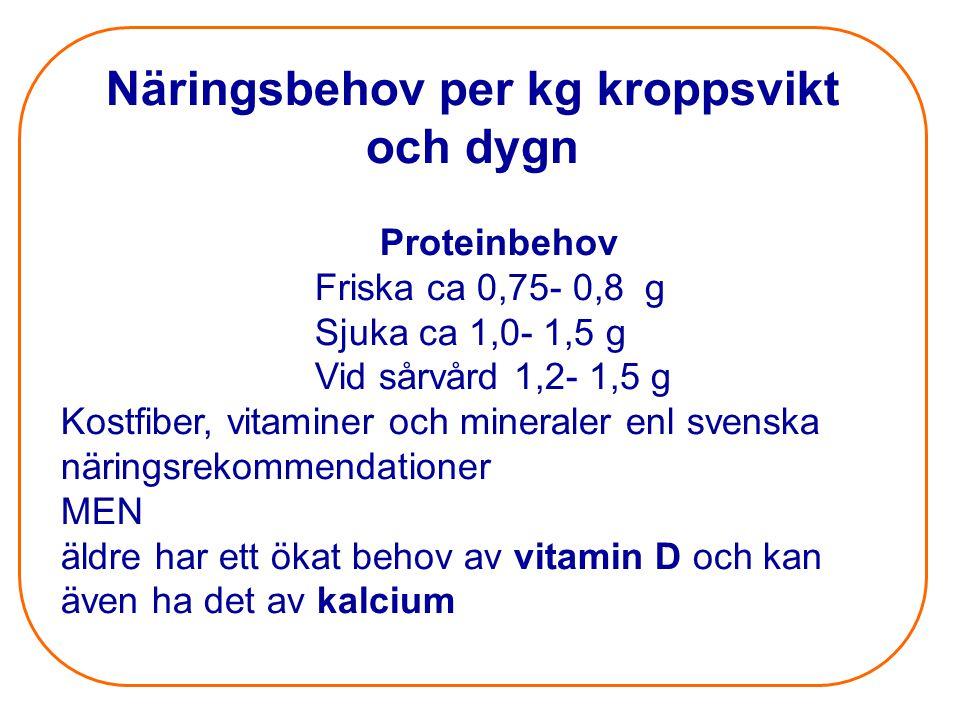 Näringsbehov per kg kroppsvikt och dygn