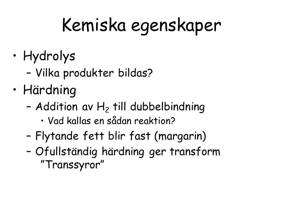 Kemiska egenskaper Hydrolys Härdning Vilka produkter bildas