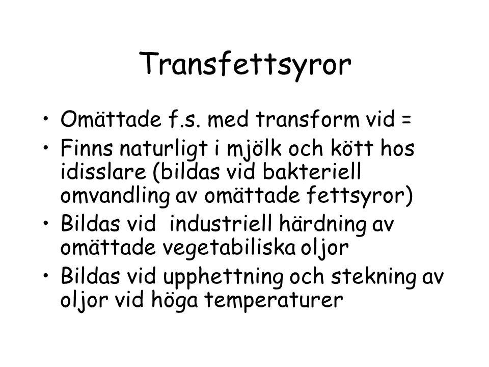 Transfettsyror Omättade f.s. med transform vid =