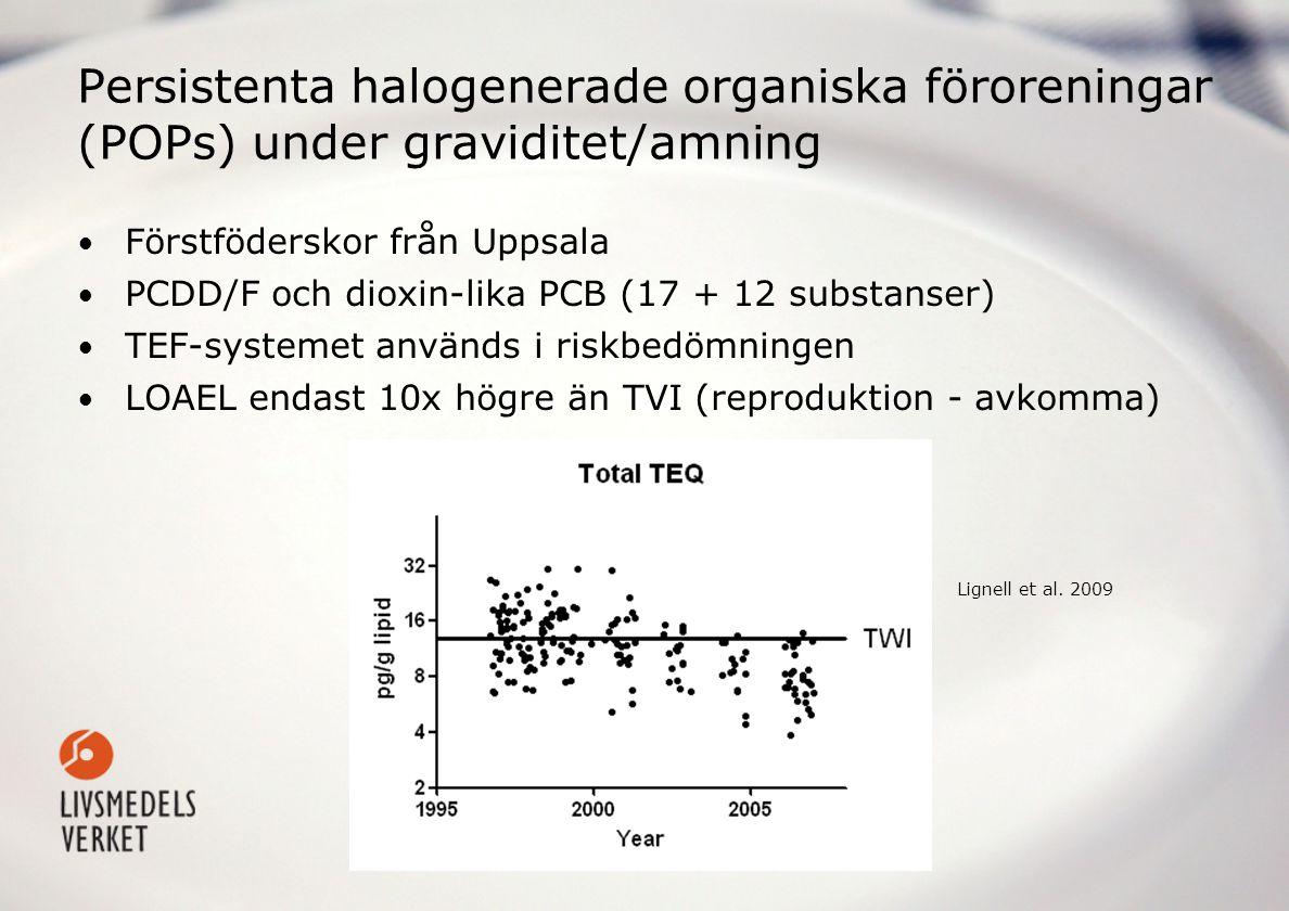 Persistenta halogenerade organiska föroreningar (POPs) under graviditet/amning