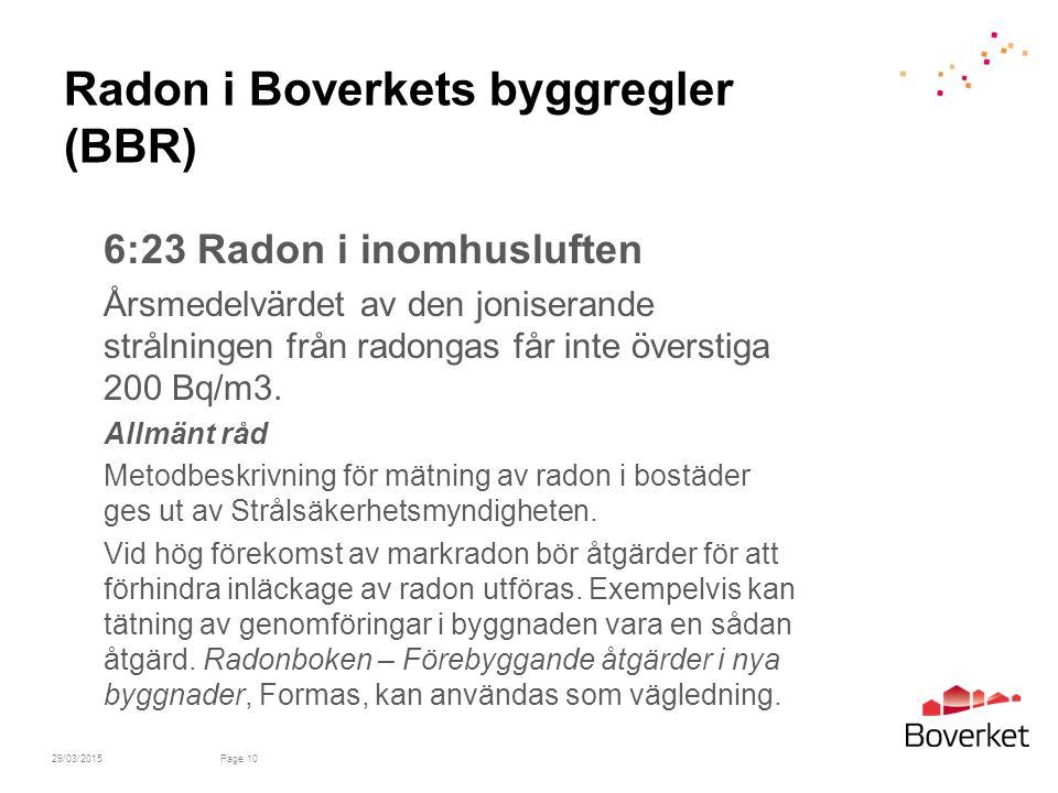 Radon i Boverkets byggregler (BBR)