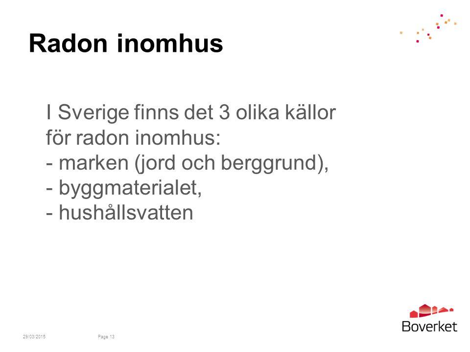 Radon inomhus I Sverige finns det 3 olika källor för radon inomhus: - marken (jord och berggrund), - byggmaterialet, - hushållsvatten.