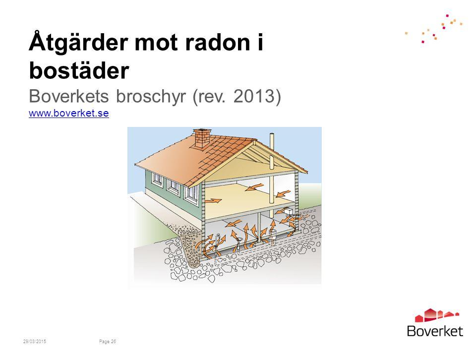 Åtgärder mot radon i bostäder Boverkets broschyr (rev. 2013) www